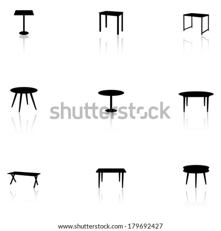 Set of black furniture icons