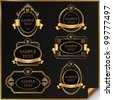 Set of black gold-framed labels in vector - stock vector