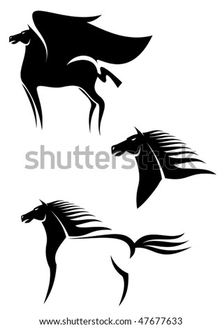 Set of black horses symbols for design isolated on white or logo template. Jpeg version is also available