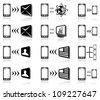 Set of black Mobile icons on white background, illustration - stock vector