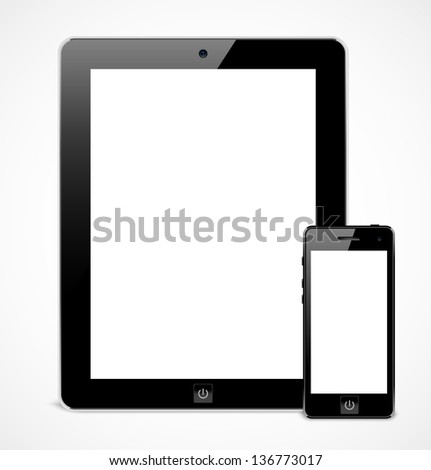 Set of black realistic tablet computer and mobile phone template