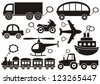 set of black transport icons on white background - stock vector