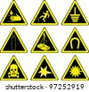 Set of black warning signs - stock photo