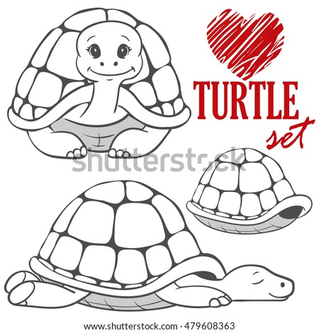 set of black&white cartoon turtles isolated on white background. animal vector sketch. Children illustration. turtle symbol