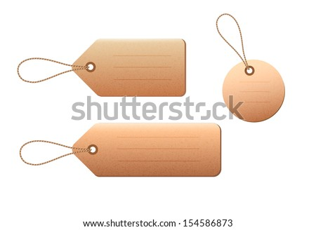 Set of blank price tags. Vector illustration.