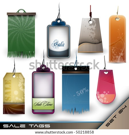 Set of Blank Tags of Different Materials - Detailed Vector Set 04