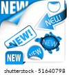 Set of blue elements for new items in eshop or on the web page - stock vector