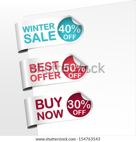 Set Green Yelloworange Red Bookmarks Curled Stock Vector ...