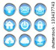 set of blue web icons on a white background - stock