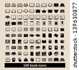 Set of 100 book icons - stock photo