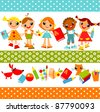 set of bright colored children, boys and girls holding hands. Vector animation on education - stock vector