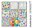 Set of bright colorful seamless patterns. - stock vector