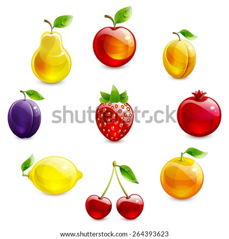 set of bright fruit on a white background