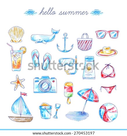 set of bright hand drawn beach icons, vector illustration