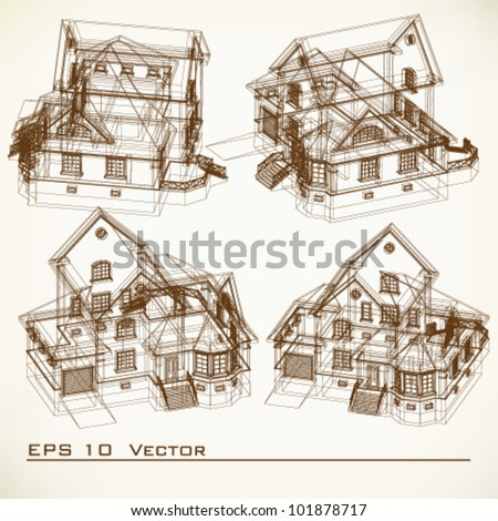 Vector illustration street germany street cafe stock for Paper for architectural drawings