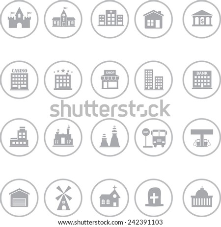 Set Of Building Factory And Palace Icon