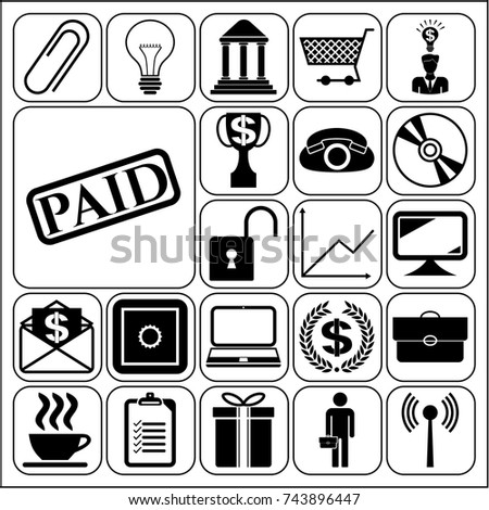 Set 22 business icons symbols collection stock vector 736466296 set of 22 business icons high quality collection detailed design vector illustration yadclub Image collections