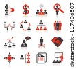 Set of 16 business, management and human resources icons. - stock
