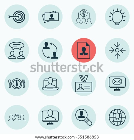 Set Of 16 Business Management Icons. Includes Authentication, Dinner, Calling Card And Other Symbols. Beautiful Design Elements.