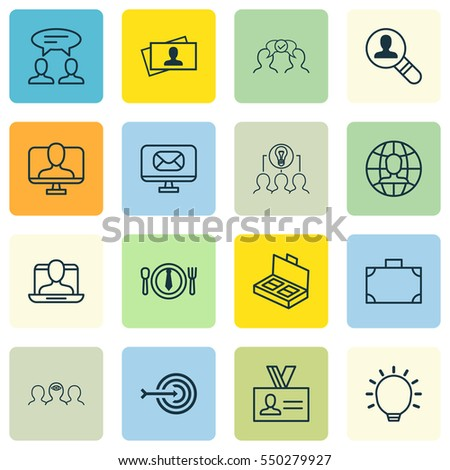 Set Of 16 Business Management Icons. Includes Great Glimpse, Portfolio, Document Suitcase And Other Symbols. Beautiful Design Elements.