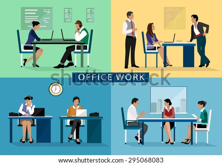 Office Rooms Set Detailed Graphic Room Stock Vector 525764068
