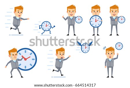 Set Of Businessman Characters Posing With Watch In Diverse Situations. Funny  Businessman Running, Chasing