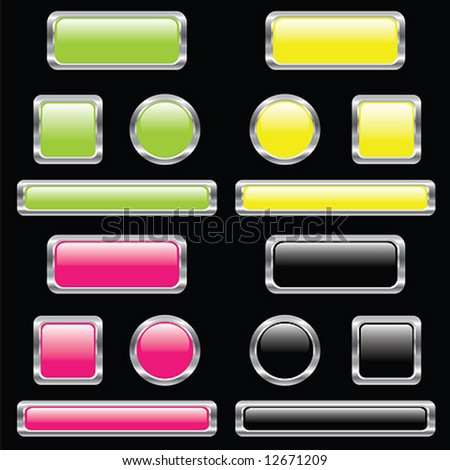 Set of buttons on black