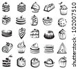 set of cakes - stock vector