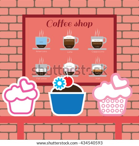 Set of cakes and coffee shop items with americano, latte, cappucino, flat white and irish, over pink background with bricks. Digital vector image
