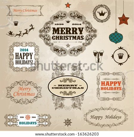 Set of calligraphic christmas decoration
