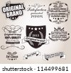 Set of calligraphic retro vintage labels and ribbons, vector - stock vector