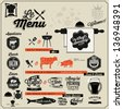 Set of Calligraphic titles and symbols for restaurant design. Hand lettering typographic menu design. - stock vector