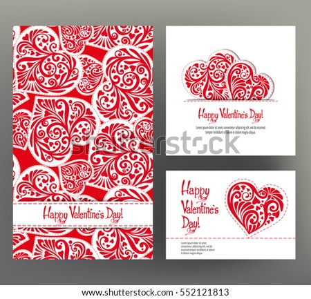 Set of 3 cards or banners for Valentine's Day with ornate red love hearts and beautiful design elements and inscriptions. Stock vector.