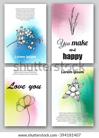 Set of cards with hand drawn flowers on digital watercolor background