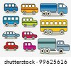 Set of cars icons, vector. - stock vector