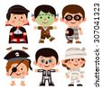 Set of cartoon characters for Halloween. Children dressed in costumes for Halloween. Boys in costumes for Halloween. Vampire, zombie, thief, pirate, skeleton, mummy - Halloween costumes. - stock vector