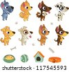 Set of cartoon dog breeds - stock photo