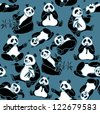 Set of cartoon funny panda on a blue background. Vector seamless animal pattern. - stock vector