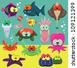 Set of cartoon funny sea animals: fishes, octopuses, crabs, sea-stars. - stock vector