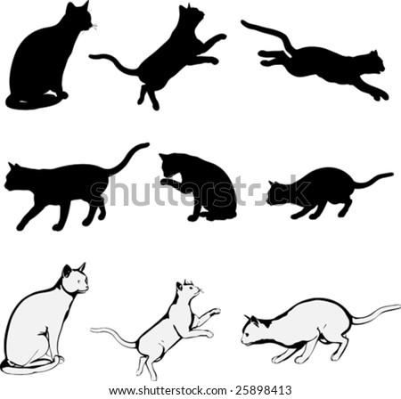 running cat silhouette  Stalking cat Stock Photos, Illustrations,