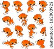 set of cats. cute little  red kitten isolated on white background. vector illustration. - stock