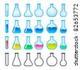 Set of Chemical Science Equipment. Illustration on white background - stock photo