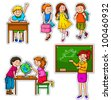 set of children and teacher at school - stock vector
