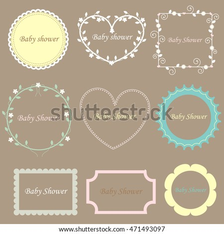 baby scrapbook templates collection cute animals cartoon style set stock vector 481475365