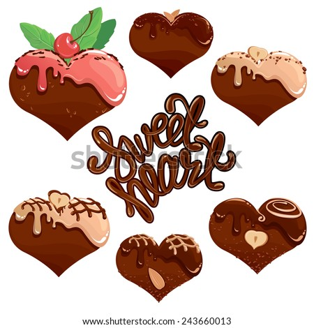 of Chocolate hearts in white and dark chocolate and strawberry glaze ...
