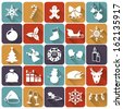 Set of christmas and new year flat icons with long shadows. Vector illustration. - stock vector