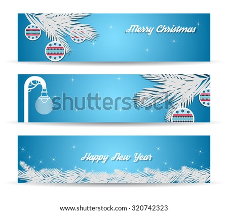 Set of Christmas banners on blue background in vector