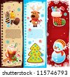Set of Christmas bookmarks - stock vector