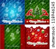 set of Christmas Greeting Cards.Merry Christmas lettering, vector illustration - stock vector