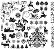 Set of Christmas icons and decorative elements - stock vector